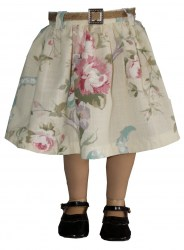 twill-floral-gathered skirt